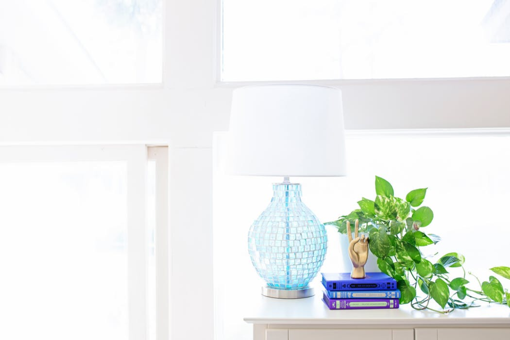 Blue lamp & house plant